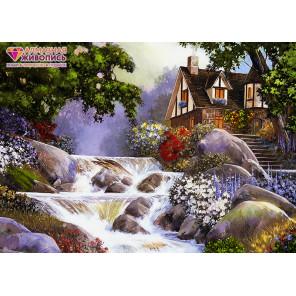 Дом у бурной реки Алмазная вышивка мозаика АЖ-1495