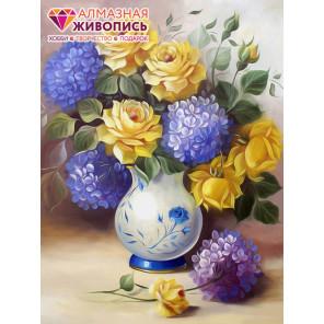 Розы и гортензии Алмазная вышивка мозаика АЖ-1508