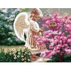 Ангел 50х65см Раскраска по номерам акриловыми красками на холсте Menglei