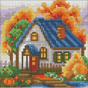 Осенний домик Алмазная вышивка мозаика АЖ-1565