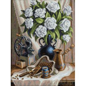 Белые розы и черный кофе Алмазная вышивка мозаика АЖ-1657