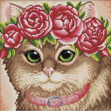 Кошка в веночке Алмазная вышивка мозаика АЖ-1659