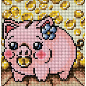 Свинка копилка Алмазная вышивка мозаика АЖ-1673