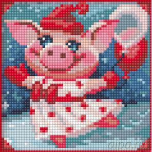 Веселая свинка Алмазная вышивка мозаика АЖ-1674