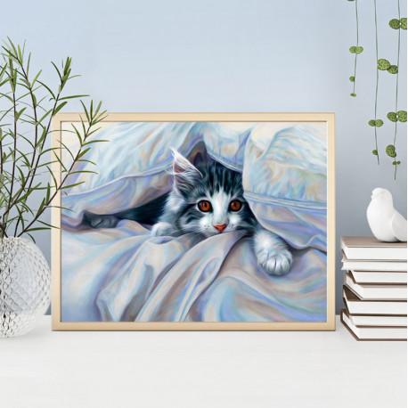 Кот под одеялом Алмазная вышивка мозаика АЖ-1680