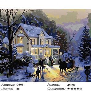 Количество цветов и сложность Прогулка зимним вечером Раскраска картина по номерам на холсте G103