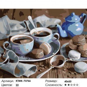 Количество цветов и сложность Чай с пирожными Раскраска картина по номерам на холсте KTMK-73766