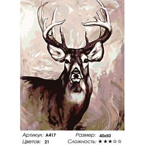 Олень с ветвистыми рогами Раскраска картина по номерам на холсте A417