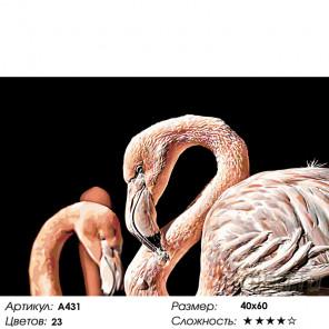 Пара розовых фламинго Раскраска картина по номерам на холсте A431