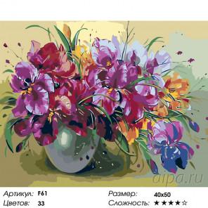 Количество цветов и сложность Аромат ирисов Раскраска картина по номерам на холсте F61