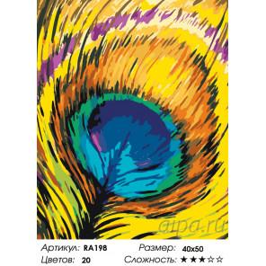 Яркое перо павлина Раскраска картина по номерам на холсте RA198