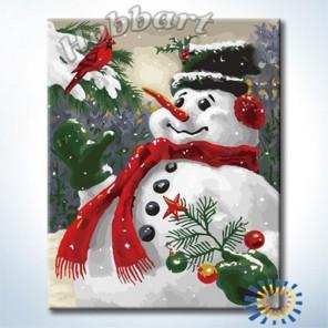 Снеговик Раскраска по номерам на холсте Hobbart