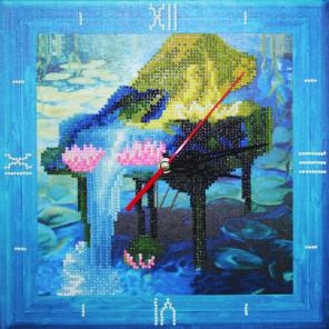 Музыка цветов Часы Алмазные на подрамнике с частичной выкладкой Color Kit