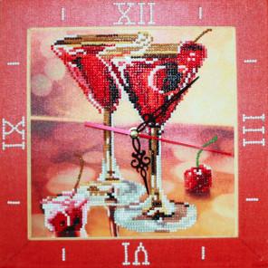 Вишневое мартини Часы Алмазные на подрамнике с частичной выкладкой Color Kit