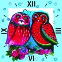 Две совы Часы Алмазные на подрамнике с частичной выкладкой Color Kit
