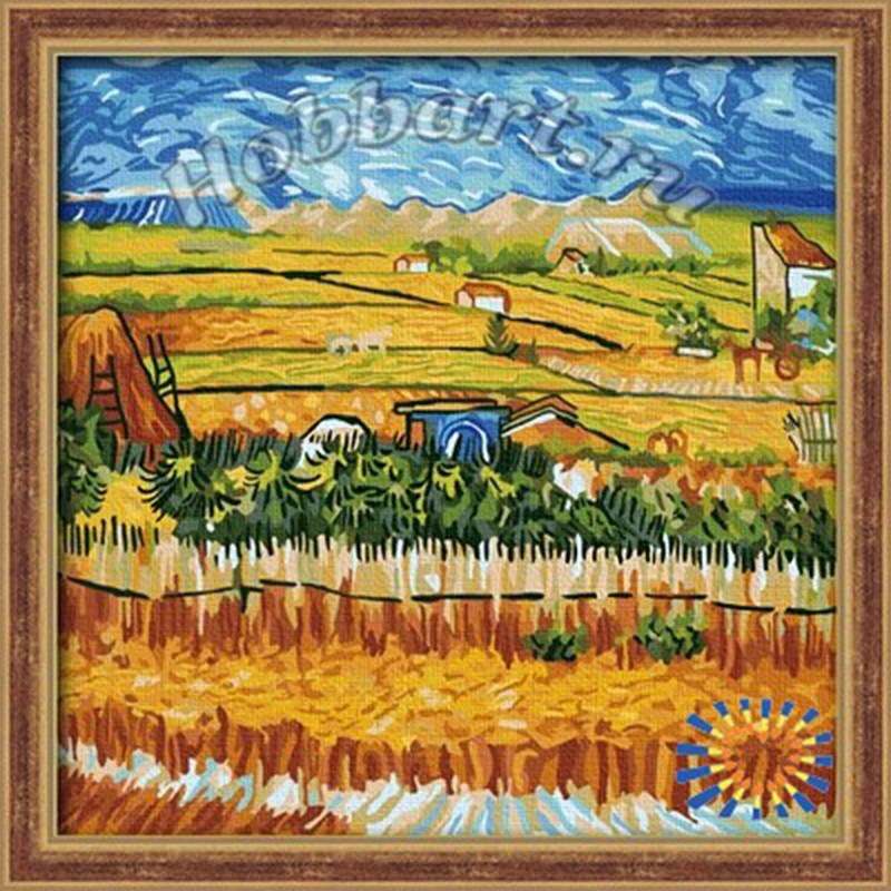 Пейзаж с голубой повозкой. Ван Гог Раскраска по номерам на ...