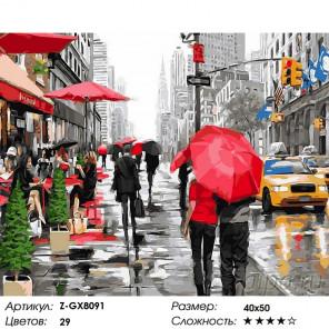 Дождь в деловом Нью-Йорке Раскраска картина по номерам на холсте Z-GX8091