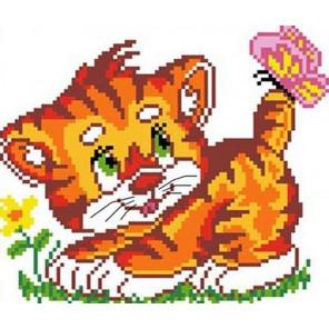 Котенок с бабочкой Набор для вышивания Каролинка