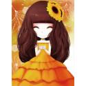 Девочка с подсолнухом Алмазная мозаика на подрамнике