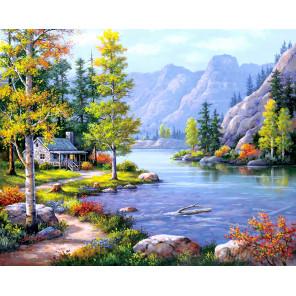 Домик у горного озера Алмазная мозаика на подрамнике