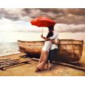 Из жизни красного зонтика Алмазная мозаика на подрамнике