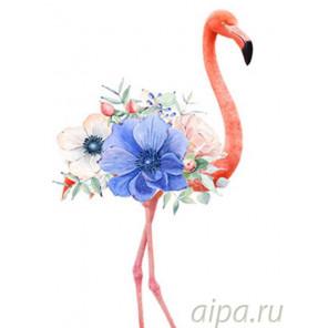 Фламинго и синий цветок Алмазная мозаика на подрамнике