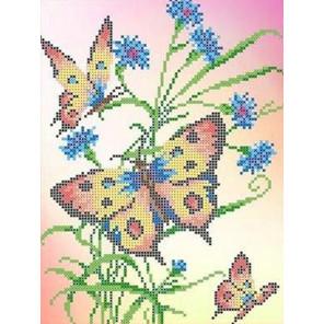 Бабочки и васильки Набор для вышивки бисером Каролинка