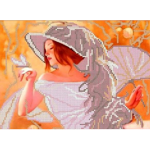 Девушка с веером Набор для вышивки бисером Каролинка