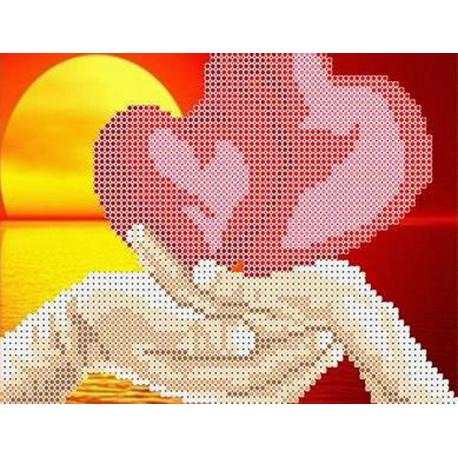 Влюбленные сердца Набор для вышивки бисером Каролинка