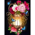 Фонарь в пионах Алмазная вышивка мозаика АЖ-1720