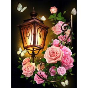 Фонарь в розах Алмазная вышивка мозаика АЖ-1721