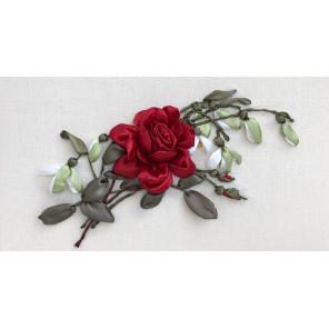 Бордовая роза Набор для вышивания лентами
