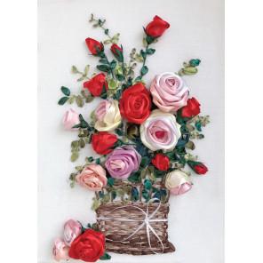 Розы в корзине Набор для вышивания лентами