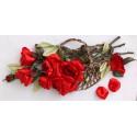 Красные розы в корзине Набор для вышивания лентами