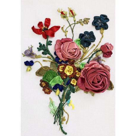Букет с розами Набор для вышивания лентами