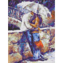 Двое под зонтом Канва с рисунком для вышивки Каролинка