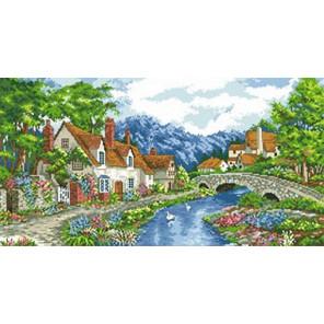 Альпийский городок Канва с рисунком для вышивки Каролинка