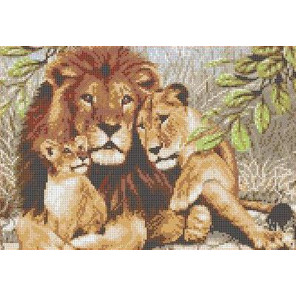 Семья львов Канва с рисунком для вышивки Каролинка