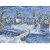 Зимний вечер Канва с рисунком для вышивки Каролинка