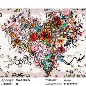Цветущее сердце Раскраска картина по номерам на холсте KTMK-00697
