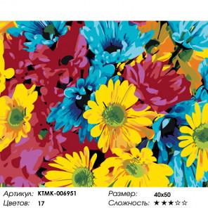 Количество цветов и сложность Яркие маргаритки Раскраска картина по номерам на холсте KTMK-006951