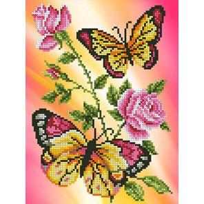Бабочки и розы Канва с рисунком для вышивки бисером