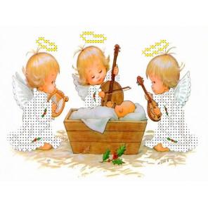 Три ангелочка у колыбели Канва с рисунком для вышивки бисером