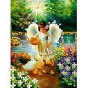 Ангел с утятами Канва с рисунком для вышивки бисером