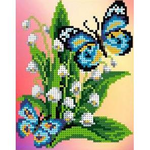 Бабочки на ландышах Канва с рисунком для вышивки бисером