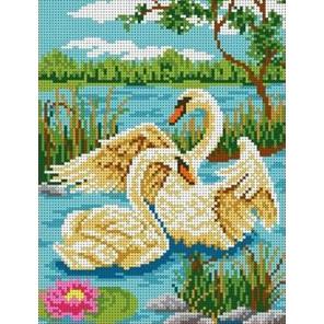 Пара лебедей Канва с рисунком для вышивки бисером