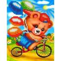 Мишка на велосипеде Канва с рисунком для вышивки бисером