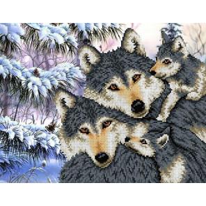 Семья волков Канва с рисунком для вышивки бисером