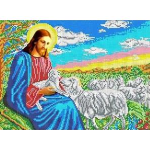 Иисус-пастырь Канва с рисунком для вышивки бисером