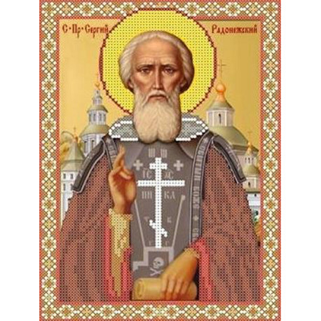 Святой Сергий Радонежский Канва с рисунком для вышивки бисером
